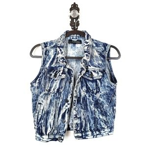 80's Distressed Acid Washed Crop Denim Vest M